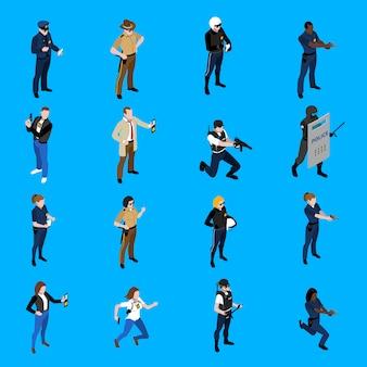 Ícones isométricos de polícia