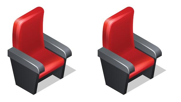 Ícones isométricos de poltrona vermelha de cinema com sombra