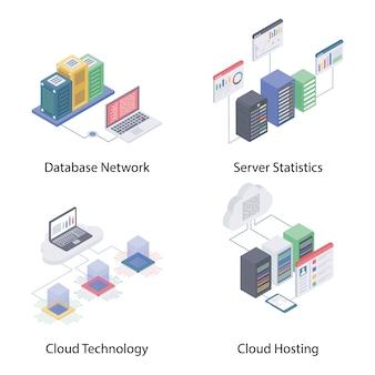 Ícones isométricos de rede de nuvem