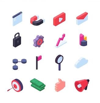 Ícones isométricos de redes sociais. coleção de botões da web de marketing de mídia e seo