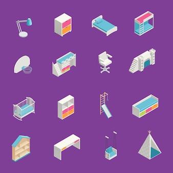 Ícones isométricos de sala de crianças com mobiliário em fundo roxo