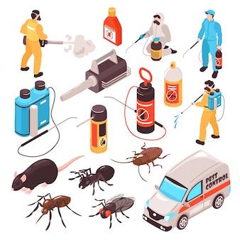 Ícones isométricos de serviço de desinfecção de controle de pragas conjunto com equipamento de equipe de exterminadores profissionais de barata de rato de formiga