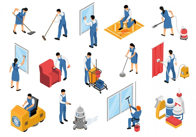 Ícones isométricos de serviço de limpeza conjunto com tapetes de mobiliário profissional de aspirar industrial, refrescante mancha removendo ilustração vetorial isolado