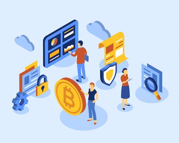 Ícones isométricos de tecnologia de bitcoin de criptomoeda