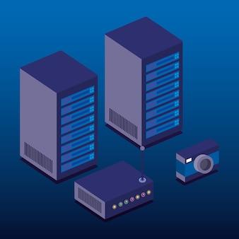 Ícones isométricos de tecnologia de centro de dados