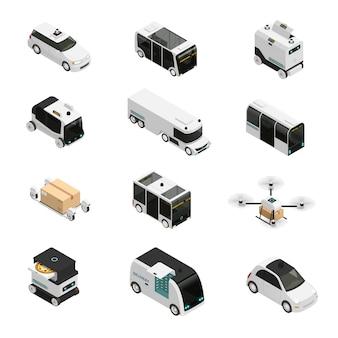 Ícones isométricos de veículos autônomos