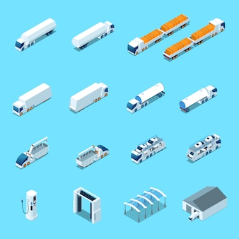 Ícones isométricos de veículos elétricos futuristas