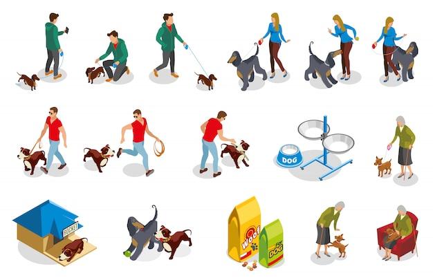 Ícones isométricos de vida comum de cão