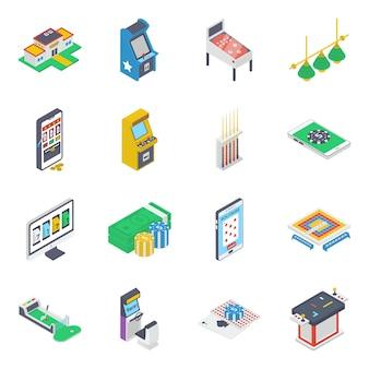 Ícones isométricos do aplicativo de jogos de cassino