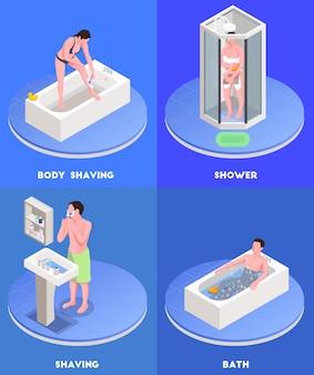 Ícones isométricos do conceito de higiene pessoal definidos com símbolos de banho e barbear isolados