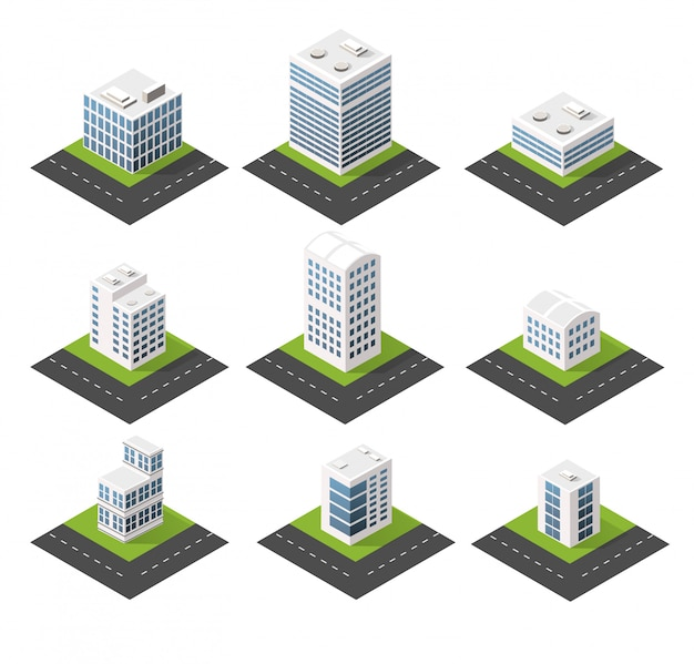 Ícones isométricos urbanos para a web com casas e ruas