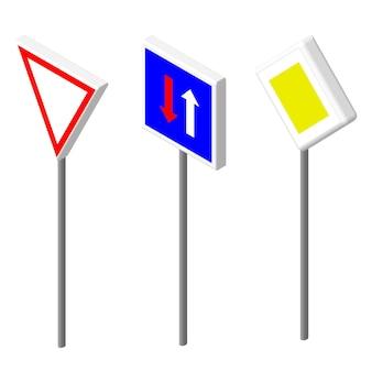 Ícones isométricos vários sinais de trânsito. design de estilo europeu e americano. ilustração em vetor eps 10.