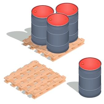 Ícones isométricos vetoriais de barris de óleo em uma palete de madeira