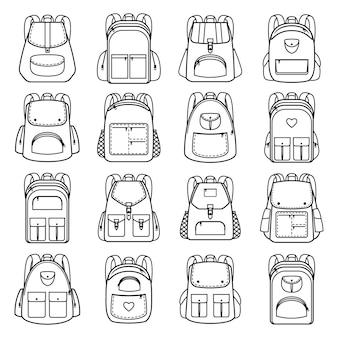Ícones lineares de pacote de saco. vector linha mochilas para viagens e caminhadas, estudantes e escola