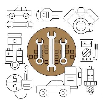 Ícones lineares do serviço do carro