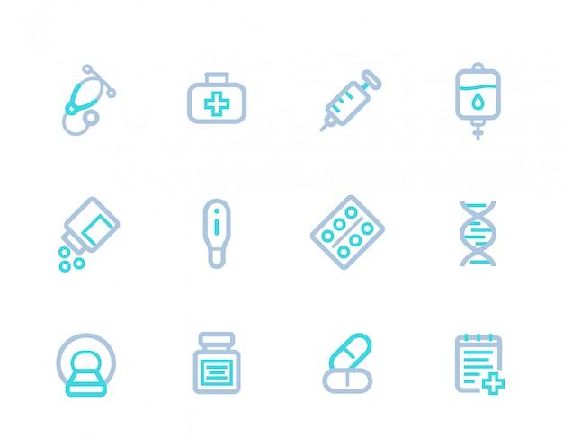Ícones lineares médicos
