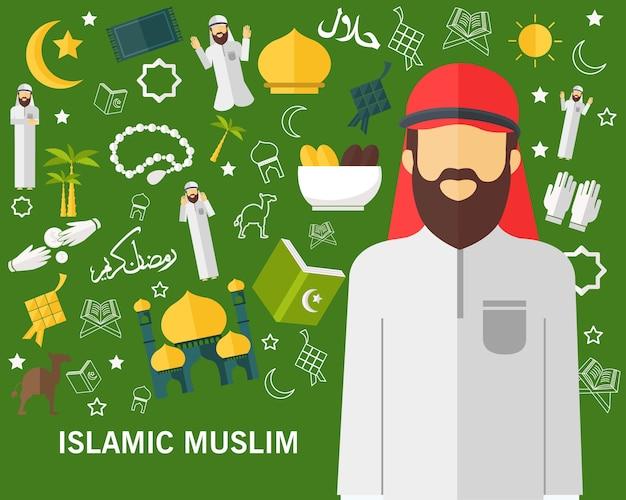 Ícones lisos conceito muçulmano islâmico.
