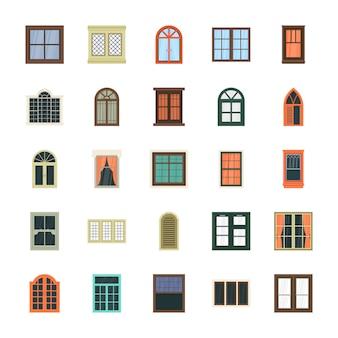 Ícones lisos da janela