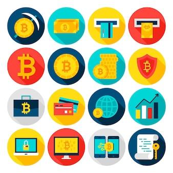 Ícones lisos da moeda bitcoin. ilustração vetorial. conjunto de itens financeiros do círculo com sombra longa.