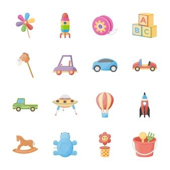 Ícones lisos de brinquedos para crianças