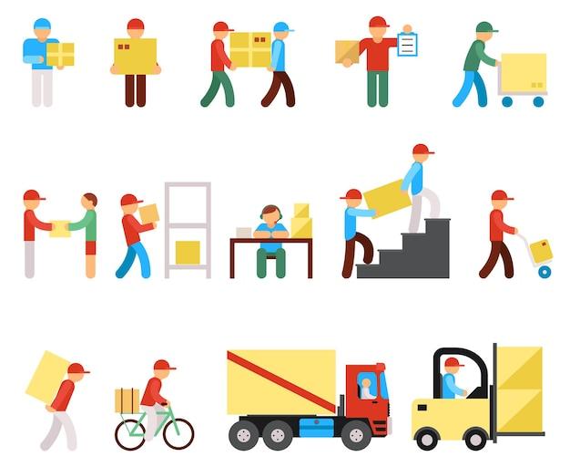 Ícones lisos de entrega e pictogramas de pessoas de logística. logística e entrega do serviço.