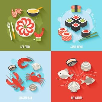 Ícones lisos de marisco conjunto com menu de sushi bar de lagosta delícias ilustração vetorial isolado