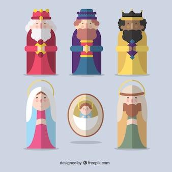 Ícones lisos do cena da natividade