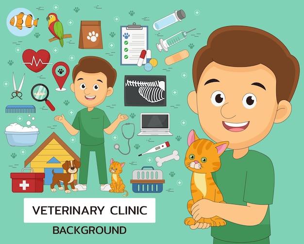 Ícones lisos do conceito de clínica veterinária.