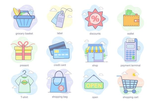 Ícones lisos do conceito de compras conjunto pacote de descontos de rótulo de cesta de supermercado, carteira, cartão de crédito presente ...