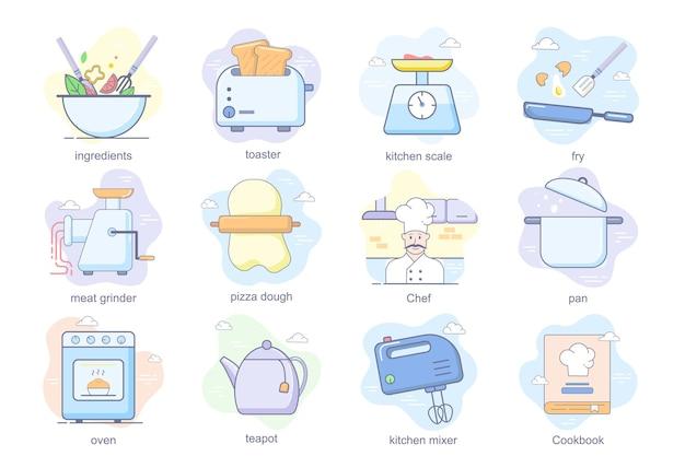 Ícones lisos do conceito de cozinha conjunto pacote de ingredientes, torradeira, cozinha, escala, pizza, massa, chef, pan, forno ...
