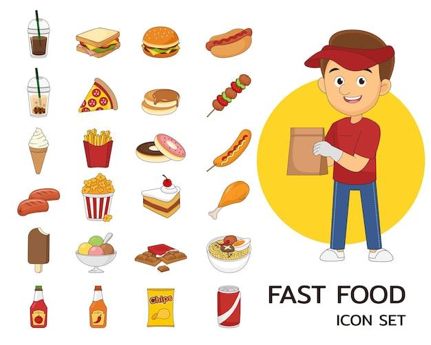 Ícones lisos do conceito de fast food.