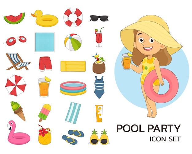 Ícones lisos do conceito de festa na piscina