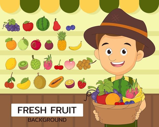 Ícones lisos do conceito de frutas frescas