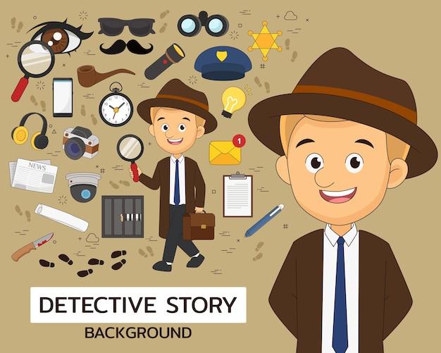 Ícones lisos do conceito de história de detetive