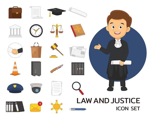 Ícones lisos do conceito de lei e justiça