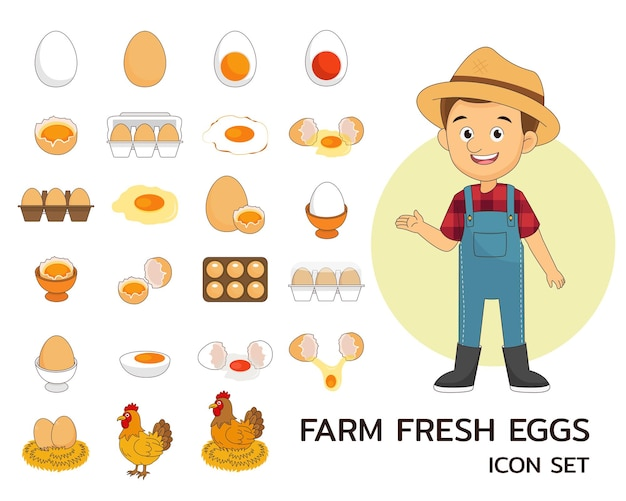 Ícones lisos do conceito de ovos frescos de fazenda