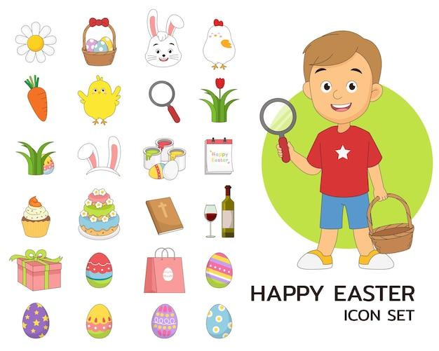 Ícones lisos do conceito de páscoa feliz