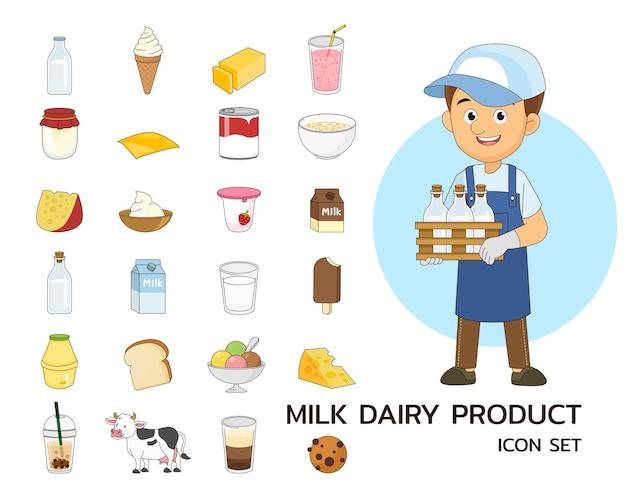 Ícones lisos do conceito de produtos lácteos de leite.
