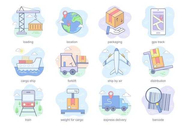 Ícones lisos do conceito de transporte definir pacote de localização de carregamento embalagem gps trilha navio de carga empilhadeira d ...