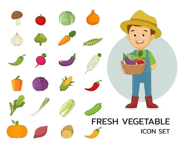 Ícones lisos do conceito de vegetais frescos.