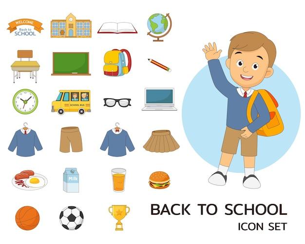 Ícones lisos do conceito de volta às aulas