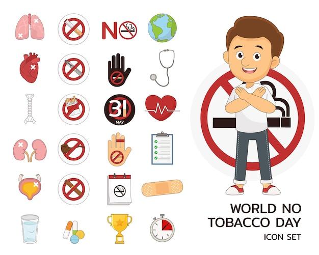 Ícones lisos do conceito do dia mundial sem tabaco