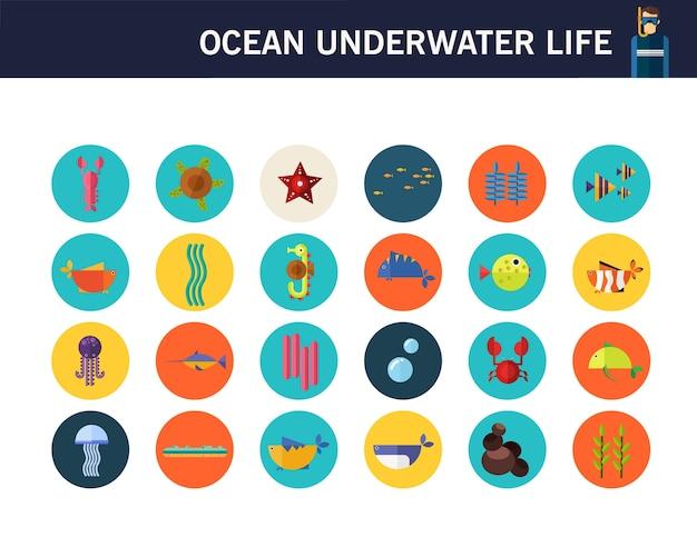 Ícones lisos do conceito subaquático da vida do oceano.