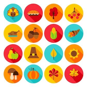Ícones lisos do dia de ação de graças. ilustração vetorial. conjunto de objetos de férias sazonais do círculo outono.