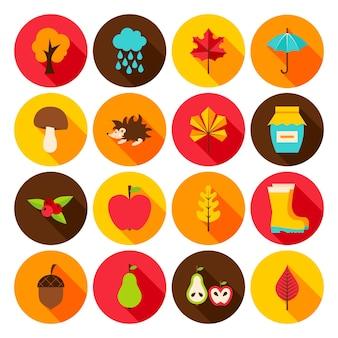 Ícones lisos do outono. ilustração vetorial. conjunto de objetos sazonais de outono do círculo.