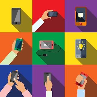 Ícones lisos do smartphone definem elementos, ícones editáveis, podem ser usados no logotipo, interface do usuário e web design