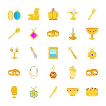 Ícones lisos do tesouro