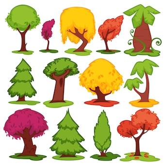 Ícones lisos do vetor das árvores coníferos, grupo decíduo dos desenhos animados.