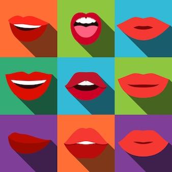 Ícones lisos do vetor dos lábios. conjunto de ilustração simples de 9 elementos de lábios, ícones editáveis, pode ser usado no logotipo, interface do usuário e web design