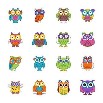 Ícones lisos dos desenhos animados da coruja